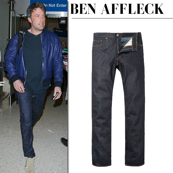 Ben Affleck in raw denim j brand jeans and blue bomber jacket streetstyle