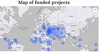 Map showing the location of 2,087 UNDP projects supported by Germany in 2017