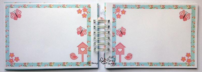 livro de mensagens jardim encantado provençal borboletas rosa e azul claro menina