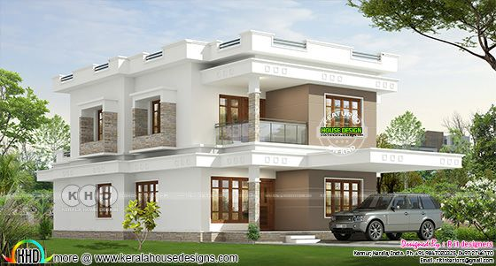 3671 square feet flat roof home plan