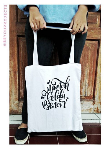 hand lettering tote bag