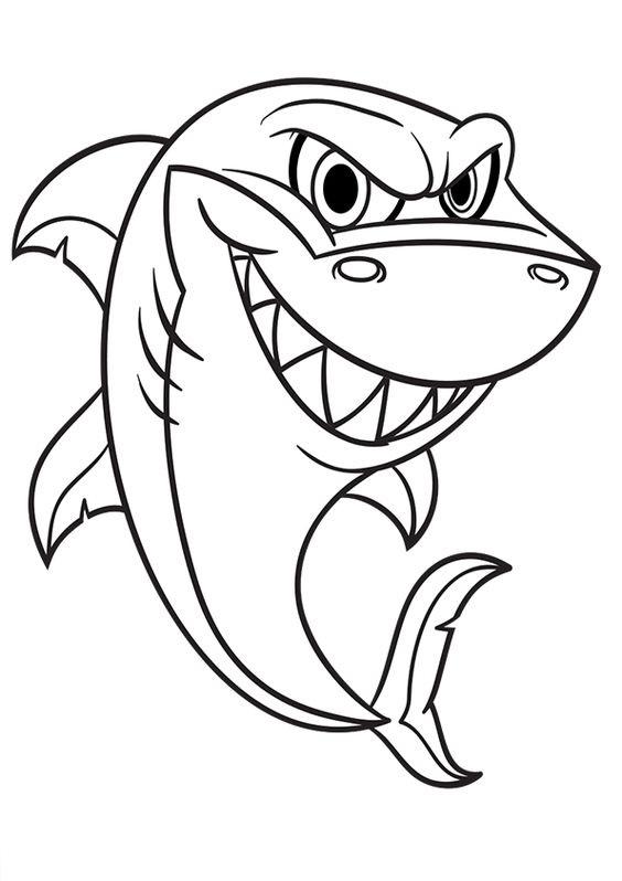 Tranh tô màu con cá mập ngộ nghĩnh
