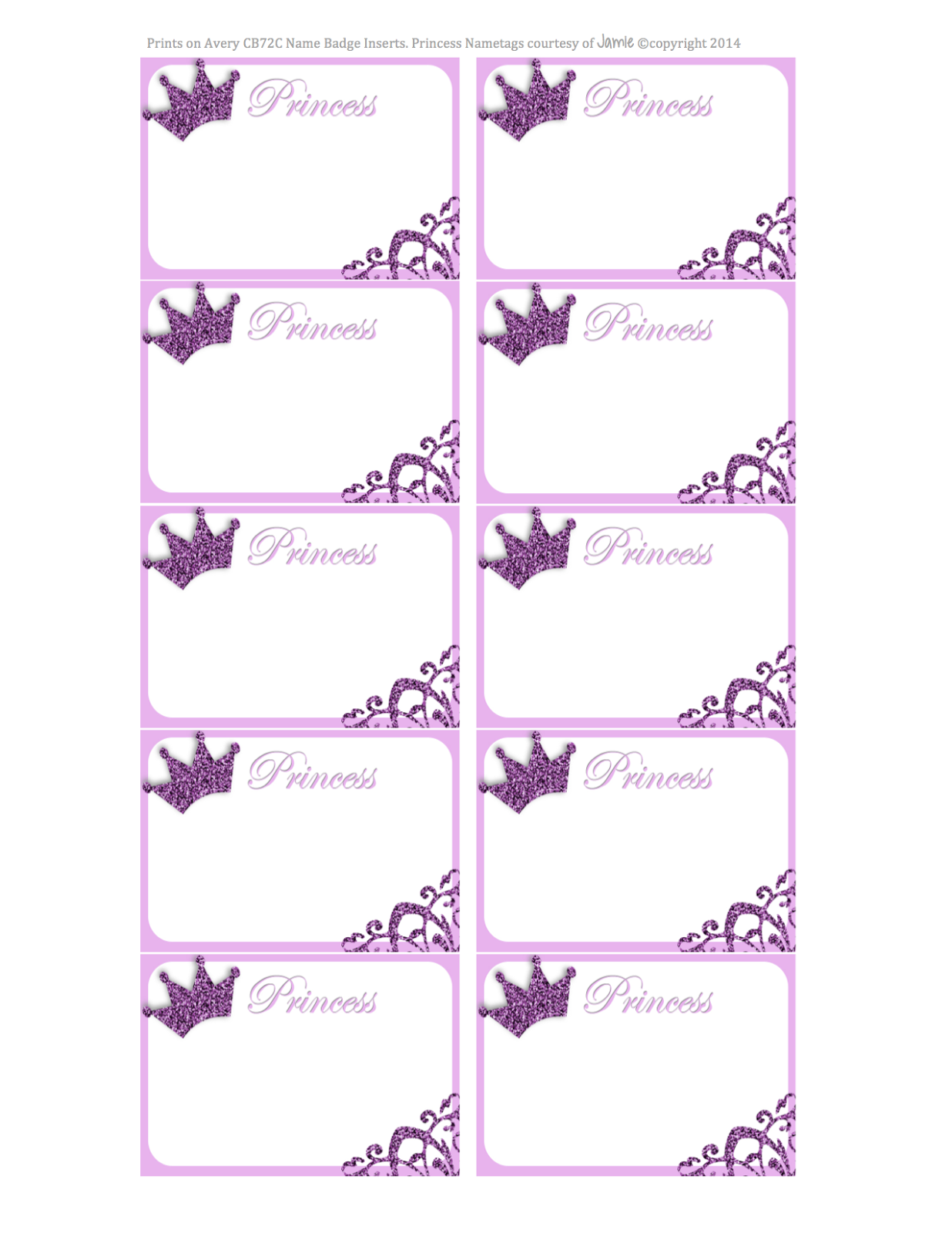 My Fashionable Designs Princess Nametags Or Labels