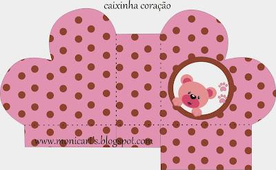 Caja abierta en forma de corazón de Linda Osita Rosa.