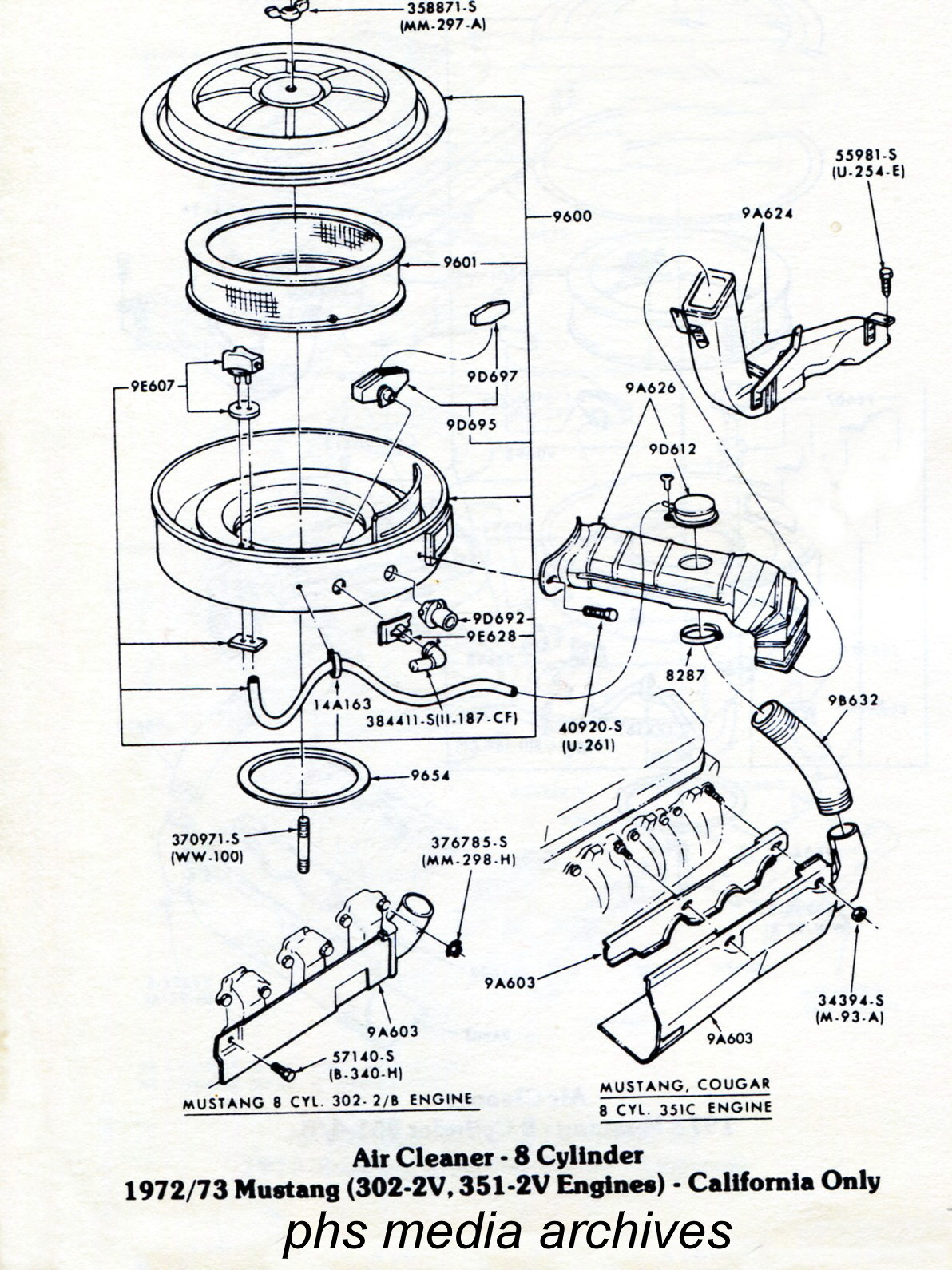 tech series ford mustang air cleaner id guide 1971 1973 Cobra 1979 Mustang Fastback the california state 302 and 351 2v engine air cleaner assembly is shown below california engines differ primarily in state of tune with distributor