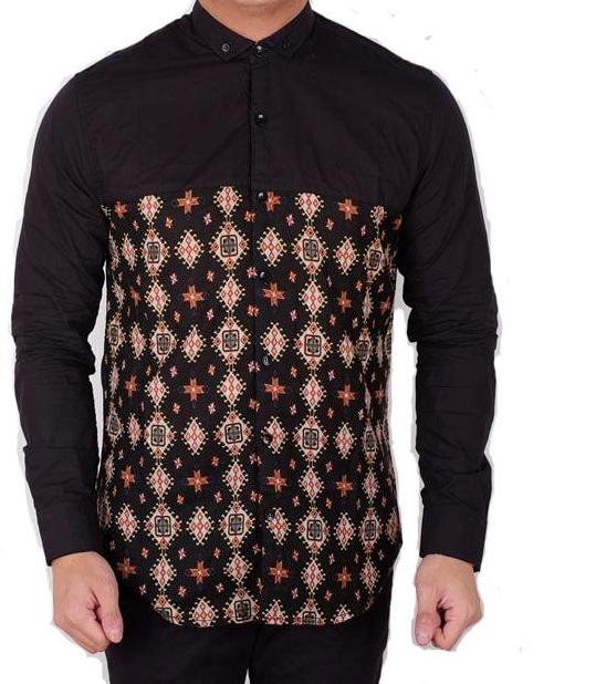 Desain Batik Kombinasi Polos Pria: 10 Model Baju Batik Pria Lengan Panjang Kombinasi Kain