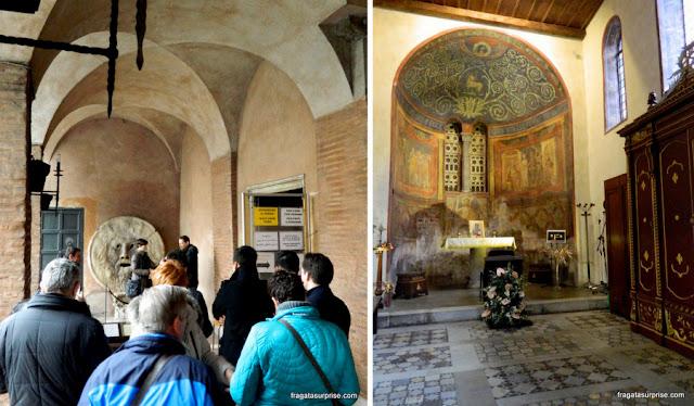 A Boca da Verdade e o interior da Igreja de Santa Maria in Cosmedin, Roma