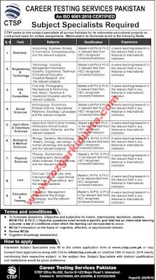 CTSP Career Testing Services Pakistan Job