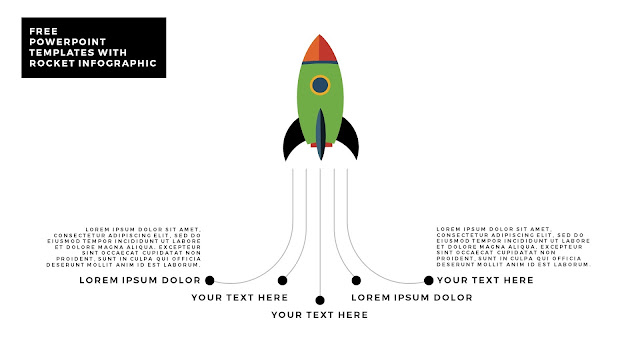 Free PowerPoint Template with Rocket Infographics and white Background Type D