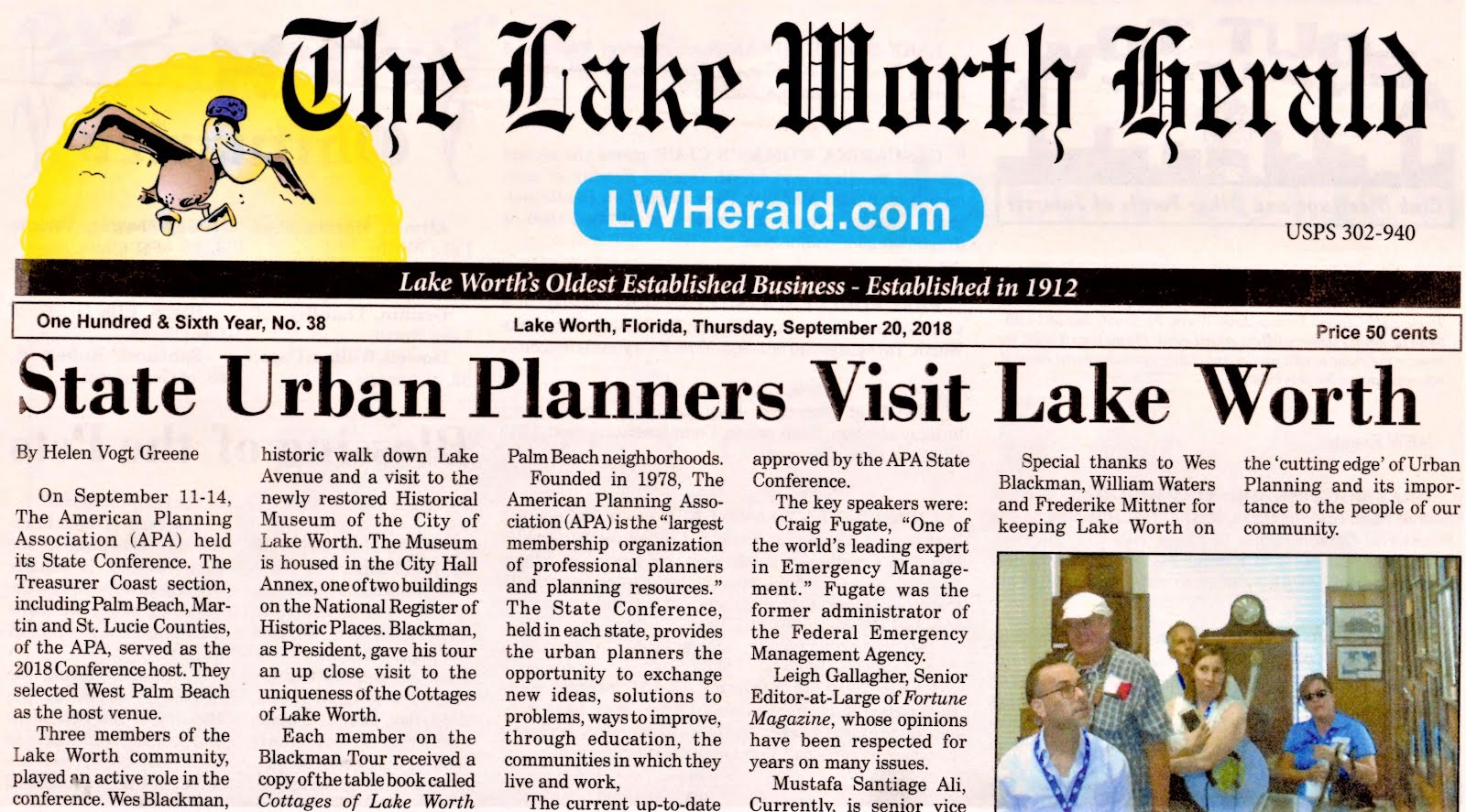 Front page news. Click on newspaper clipping: