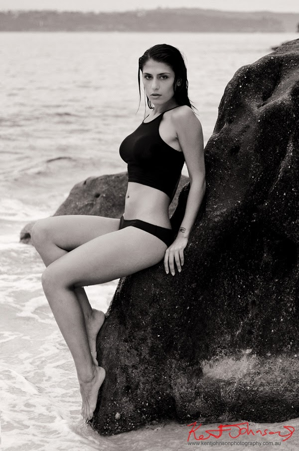 Beach location swimwear and fitness modelling photographed in Sydney Australia by Kent Johnson.