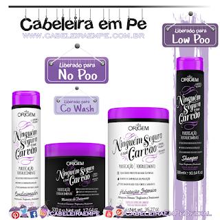 Shampoo (Low Poo), Condicionador, Creme de Hidratação e Máscara de Tratamentos (Liberados para No Poo e co wash) Ninguém Segura Esse Carvão - Nazca Origem
