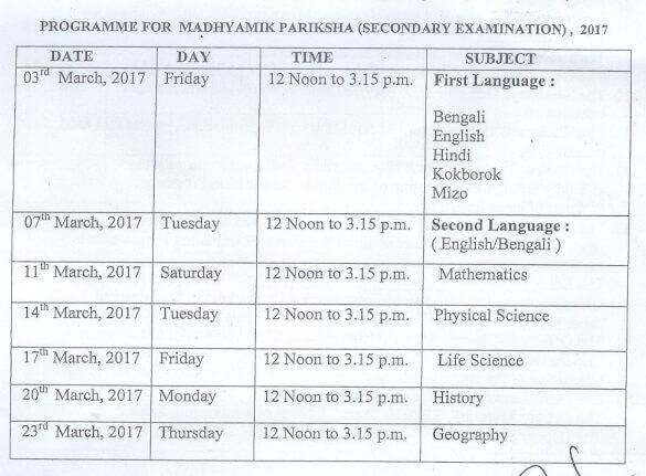 Schedule for TBSE Madhyamik Pariksha (Secondary Examination), 2017
