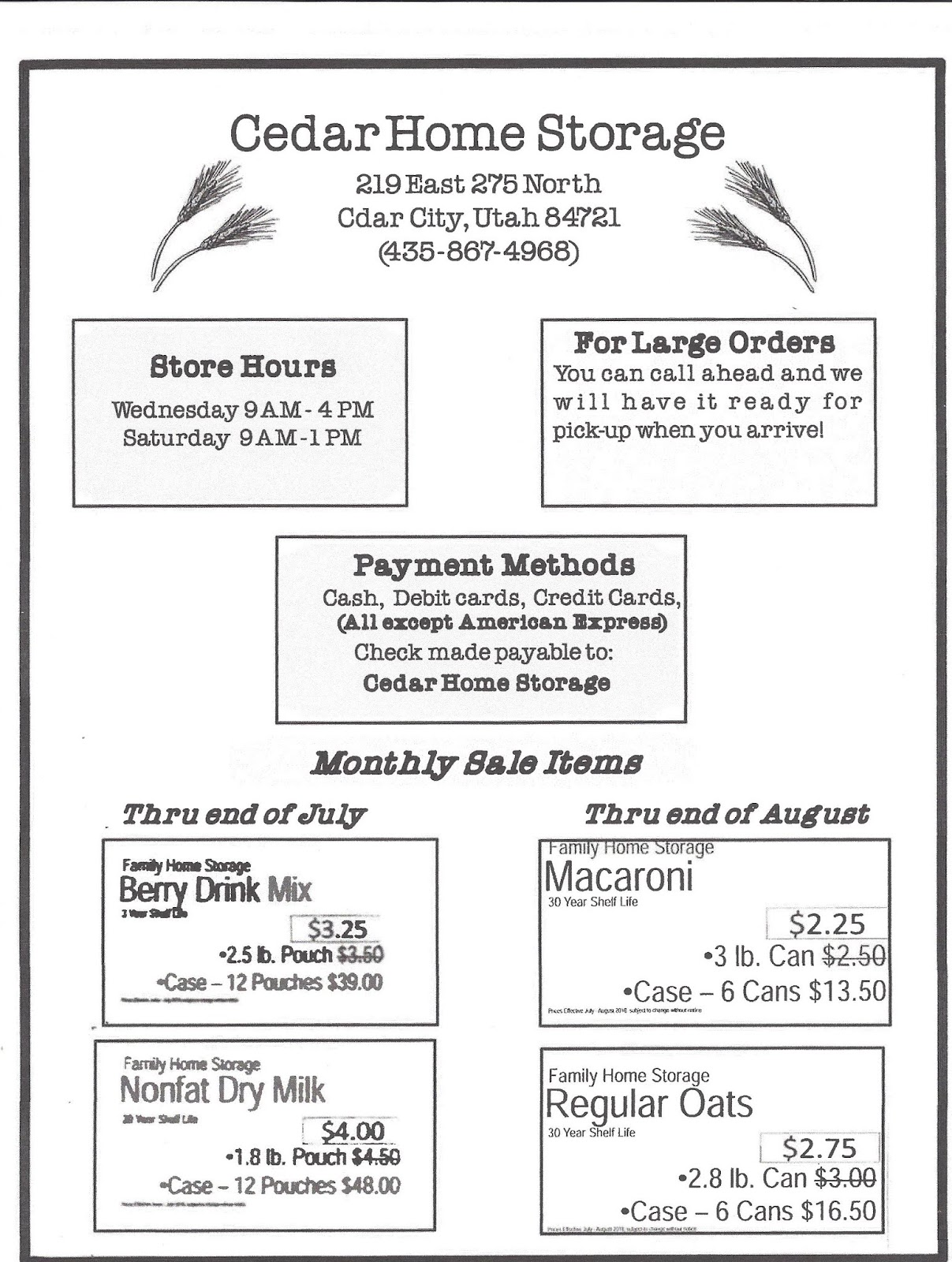 Below Is The Link For Ordering Food Storage Items At The Bishopu0027s  Storehouse In Cedar City.