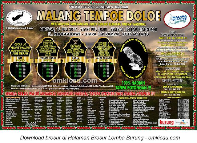 Lomba Burung Berkicau Malang Tempoe Doeloe, Malang, 16 Juli 2017