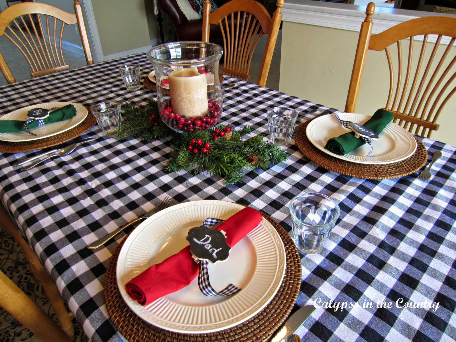 Black and White buffalo checked tablecloth