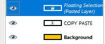 Tampilan layer baru hasil copy paste di GIMP
