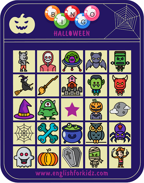 Printable Halloween bingo cards for ESL students