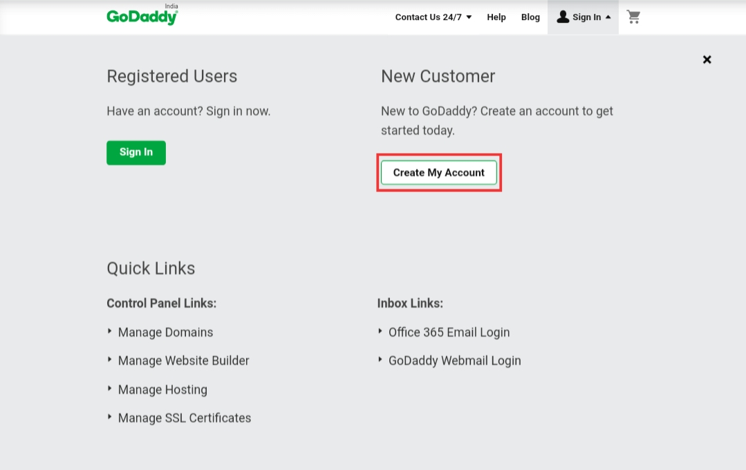 Godaddy create account