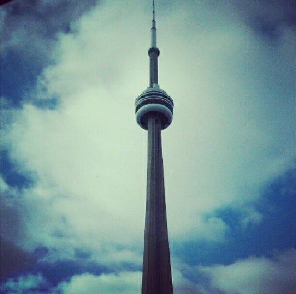 An Instagram photo of the CN Tower against a blue sky