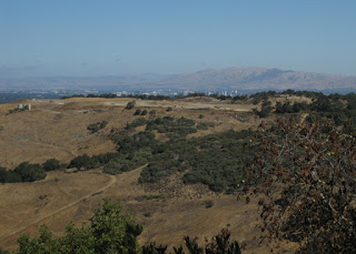 View of golden hills, the city of San Jose, and the Diablo Range from Reynolds Road, Almaden, California