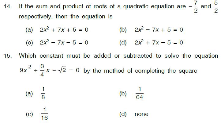 Study notes for Delhi Public school: Quadratic Equations Class X ...