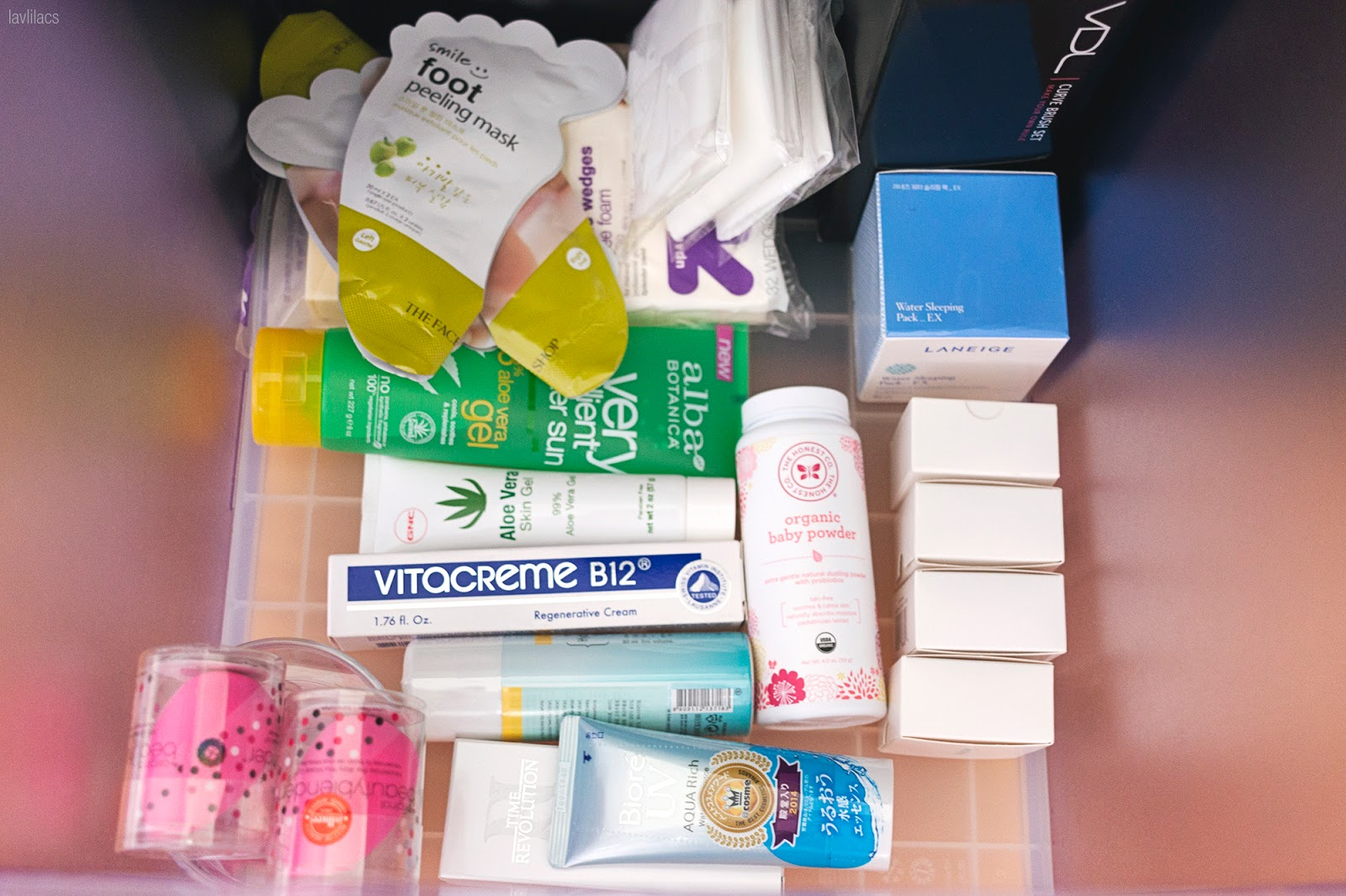 New skincare and miscellaneous beauty products in Ikea Expedit drawers