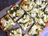 Green Pizza with Pesto, Feta, Artichokes, and Broccoli