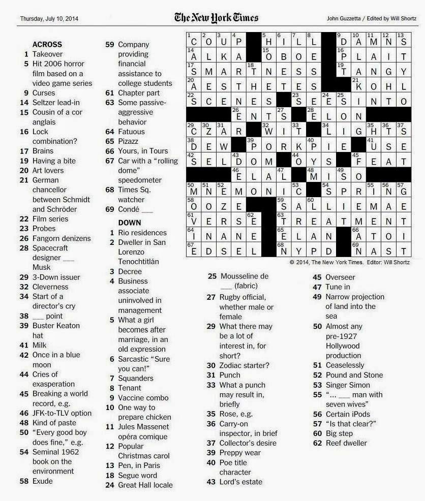 The New York Times Crossword in Gothic: 07.10.14 — Silent