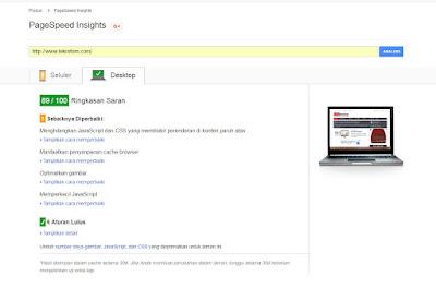 Score SEO Themes dengan Page Speed Google