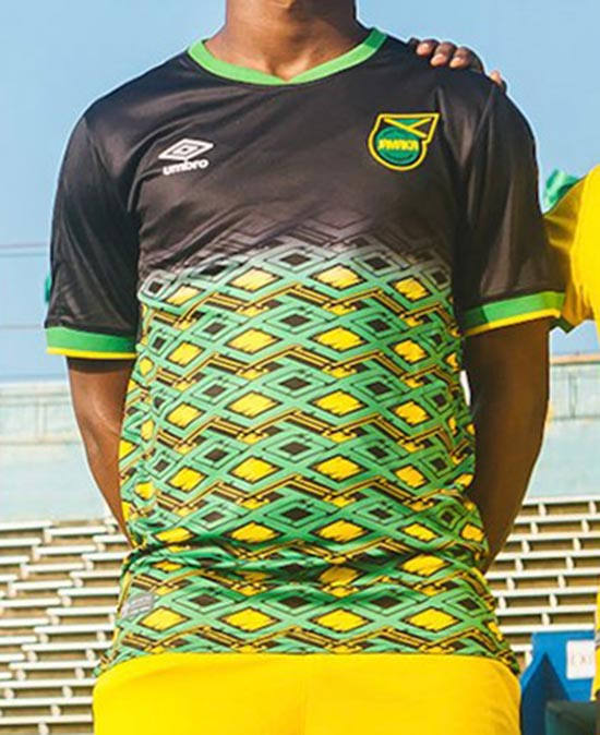 f34c0ba42 The new Umbro Jamaica 2018-2019 away kit is black with a colorful graphic  on the front that pays homage to vivid culture of Jamaica. Umbro s special  taping ...