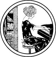 דף צביעה אישה מנגנת על פסנתר