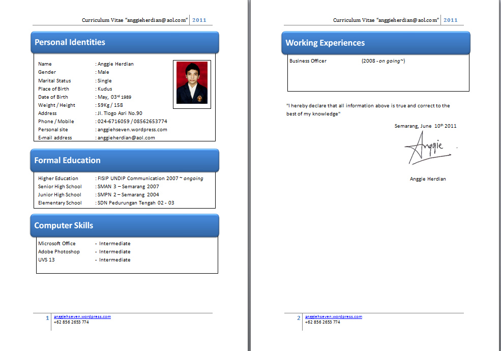 Format Cv Yg Baik | Timesheet Template Simple