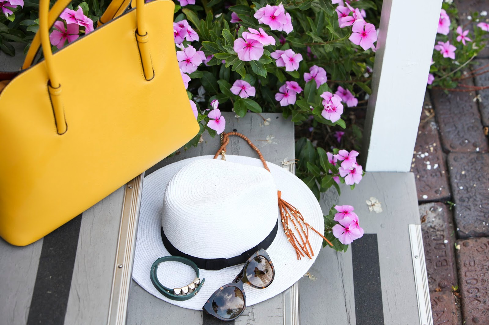 Yellow hand bag and panama hat