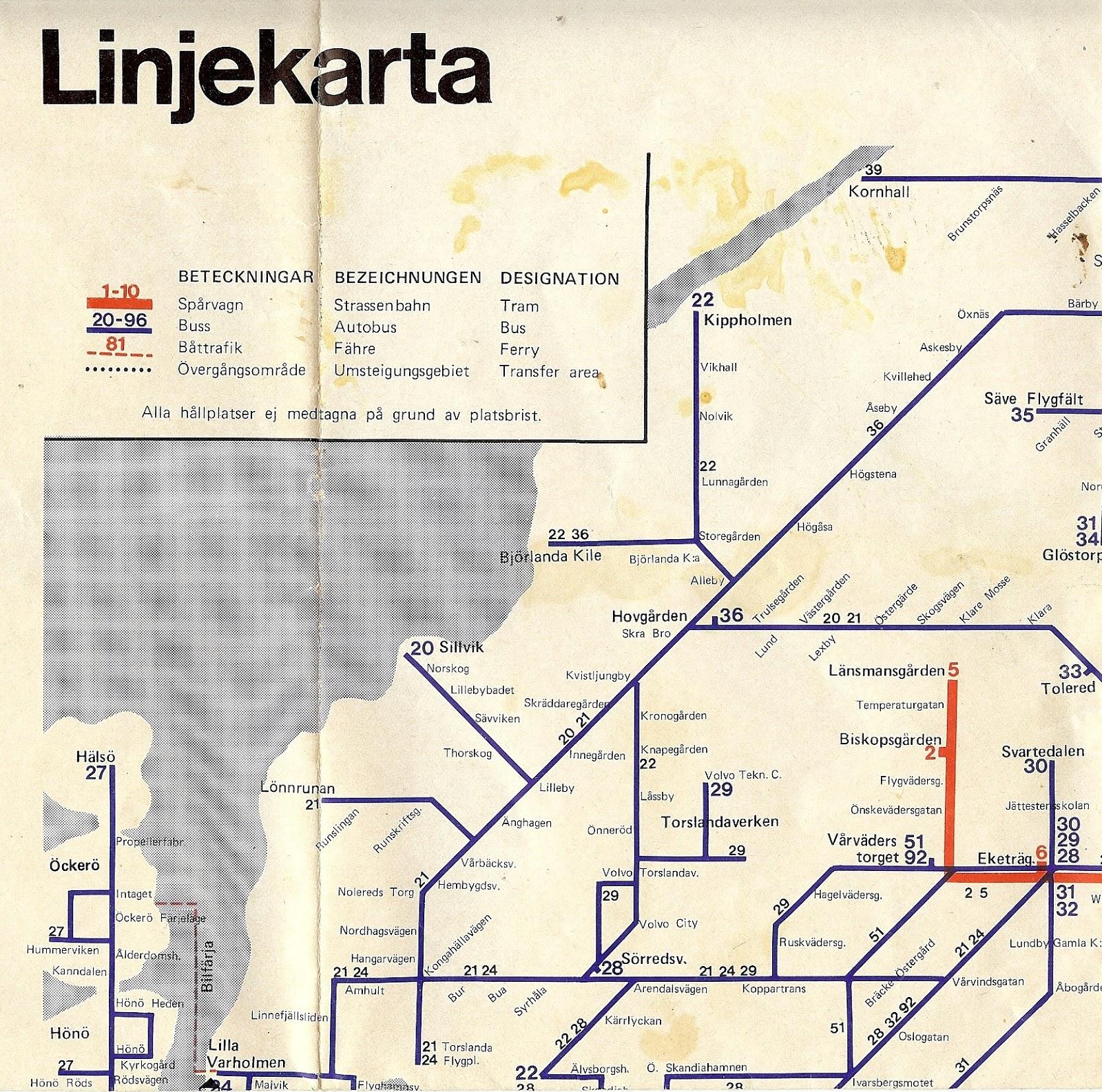 Nostalgorama Linjekarta Over Goteborg 1977