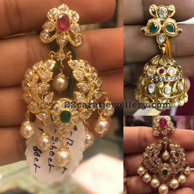 Classy Chandbalis and Jhumkas in Pachi Work