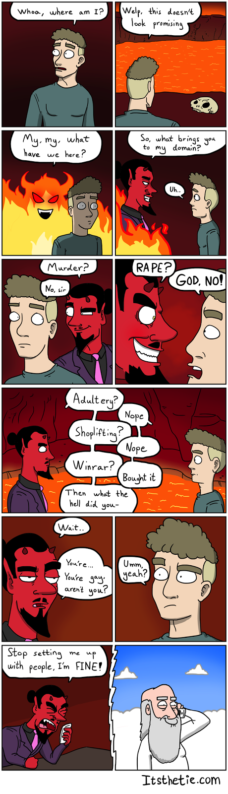 comic about God setting Lucifer up with a boyfriend
