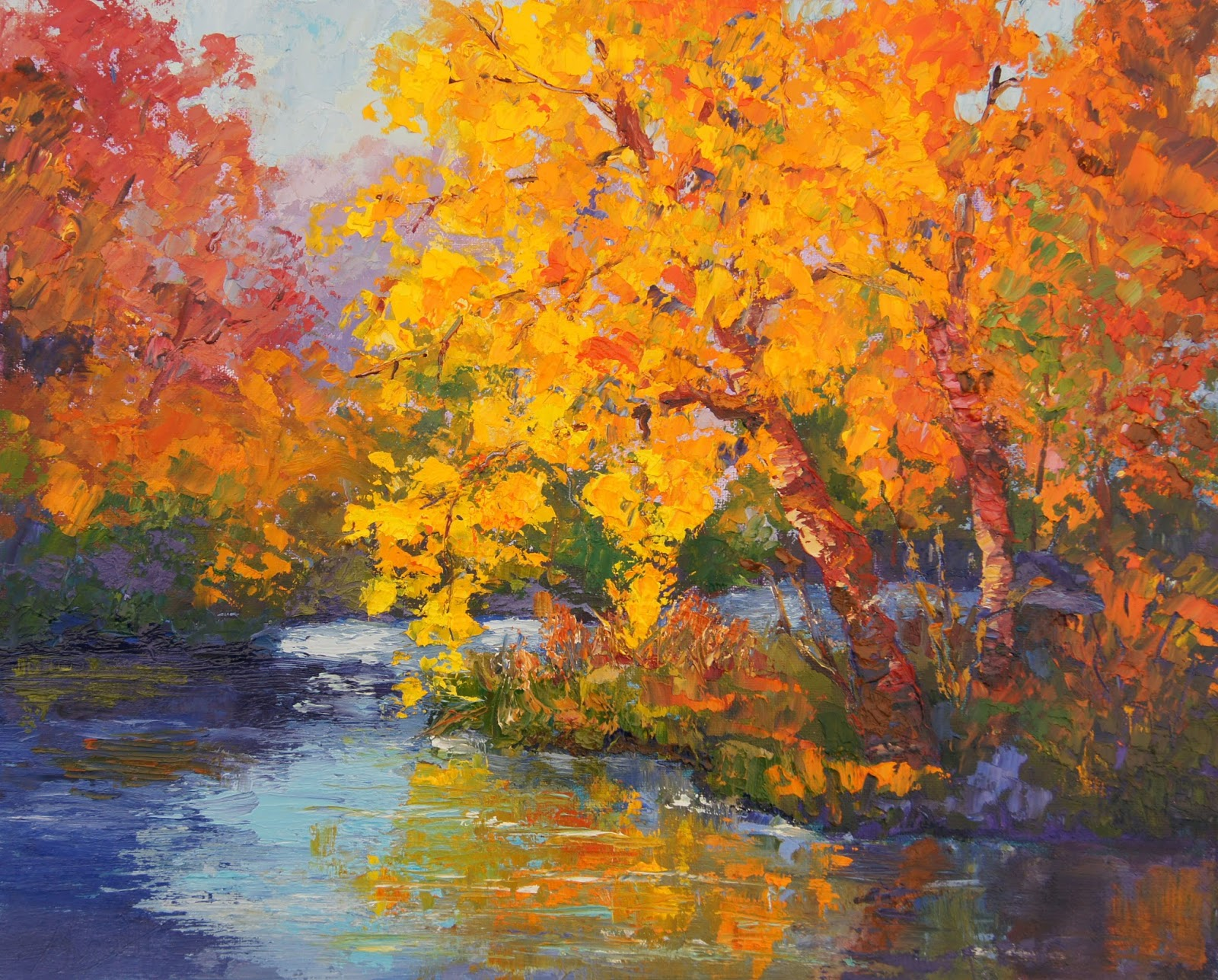 Palette knife painters impressionist autumn painting for Fall pictures to paint