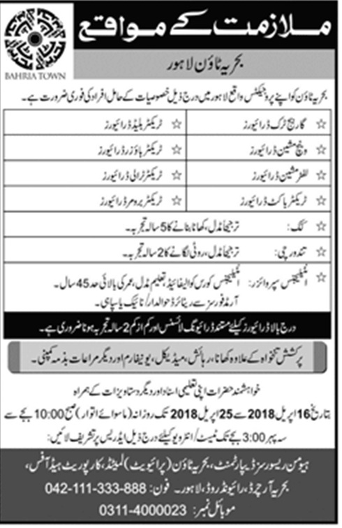 New Vacancies announced in Bahria Town Pvt Ltd