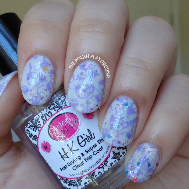Purple Bakery Inspired Stamping Nail Art