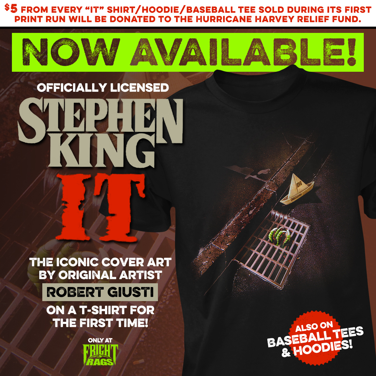 ac3b11af3 Fright-Rag releases Stephen King's IT cover art shirt, plus Halloween &  Hellraiser III collections $5 from every IT shirt donated to Hurricane  Harvey relief ...