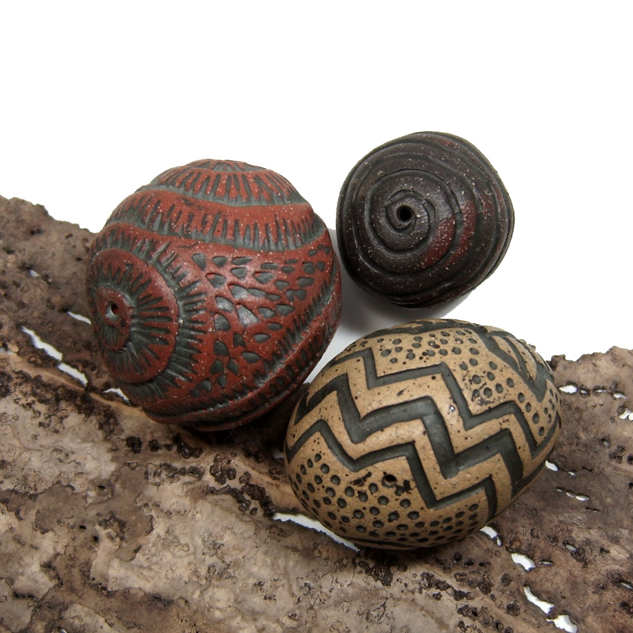 Hand Carved Hollow Ceramic Beads