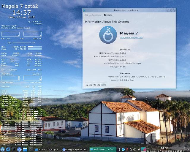 Mageia 7 (beta2) com Kernel 5.0 e KDE 5.15.1 após a atualização inicial