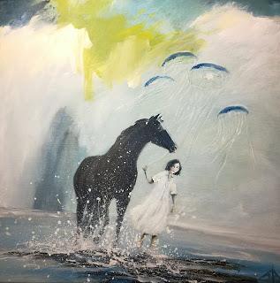 gallery, gallerie, galleri, kunst, maleri, kunst til salg, moderne, hest, vandmand, goble, hav, ocean, sea, Black horse, sun