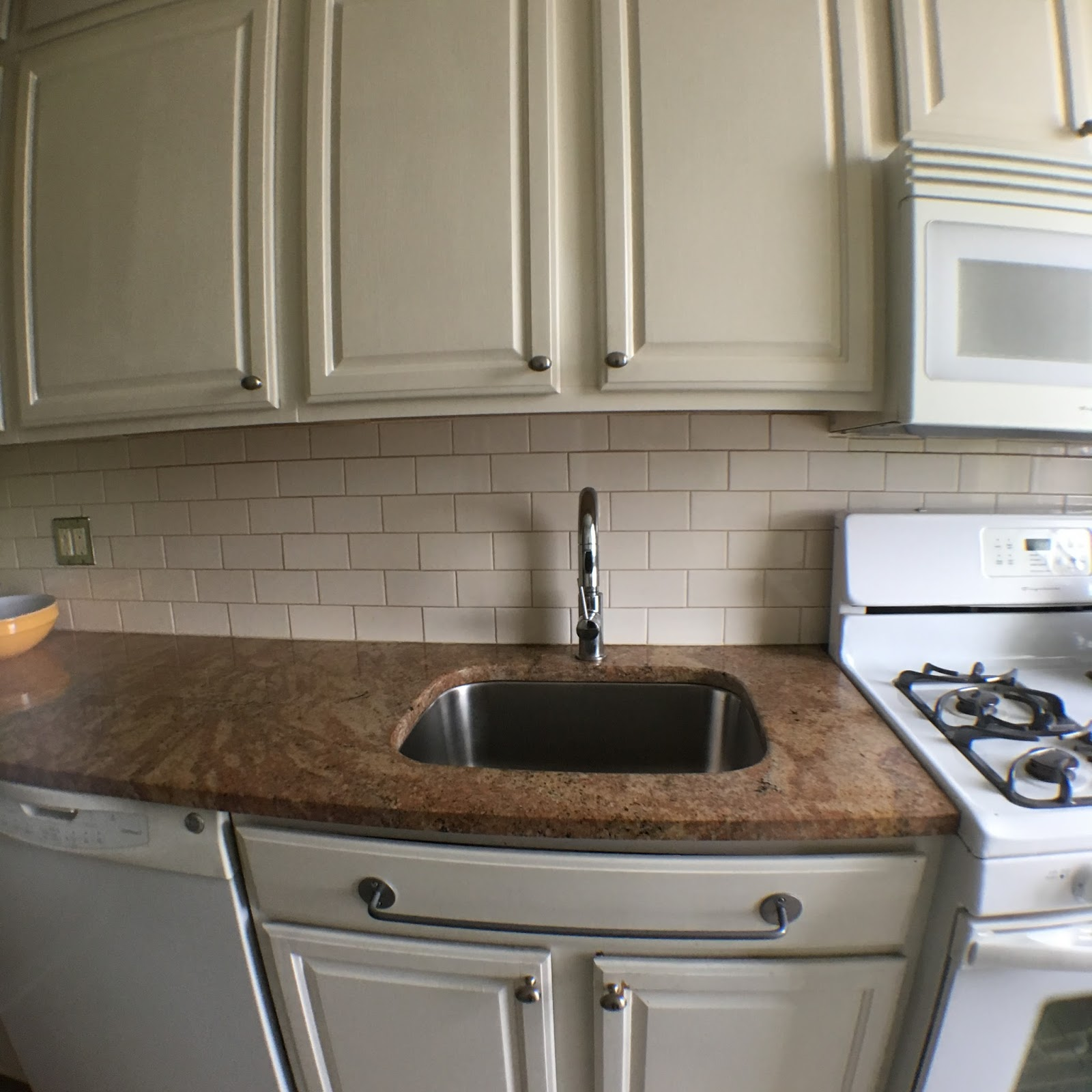 Ome design decor and renovation renov8or h and subway tile backsplash have successfully muted the pinkness of the granite its still not a stone that i would have chosen myself but i can really dailygadgetfo Image collections