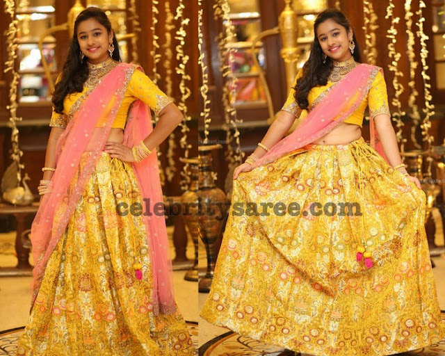 Yellow Benaras Floral Half Saree