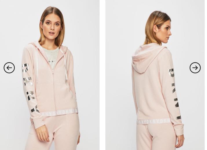 Dkny - Bluza dama roz moderna cu scrisul argintiu