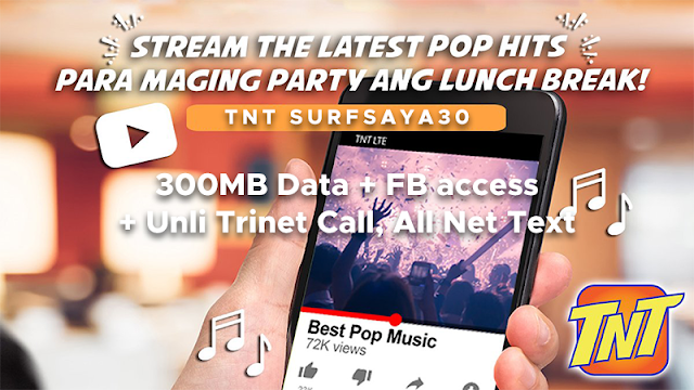 TNT SURFSAYA 30 : 300MB Data, 100MB/day of Facebook, Unli Call and Text for 3 Days