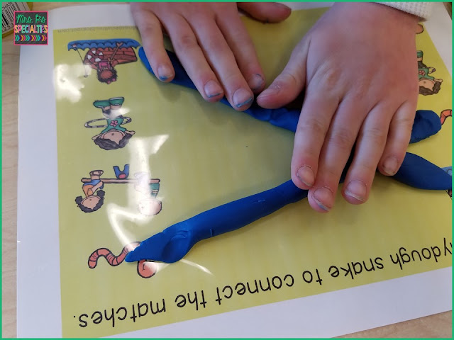Combine matching and fine motor skills with these read and do playdoh mats.