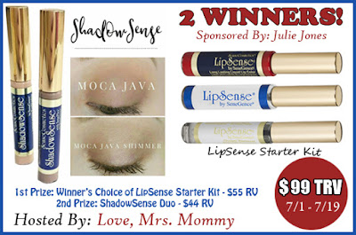 Enter to win the  Feel Beautiful LipSense & ShadowSense Makeup Giveaway. Ends 7/19